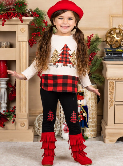 Girls Christmas Trees Top and Matching Patched Leggings Set Beige 2T-10Y
