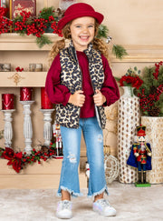 Girls Balloon Sleeve Top, Leopard Puffer Vest and Distressed Jeans Set