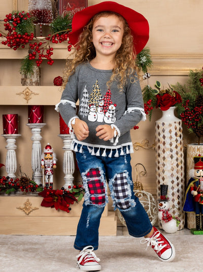 Girls Tassel Snowman Holiday Top and Patched Jeans Set 2T-10Y