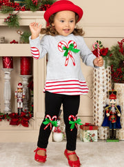 Girls Candy Cane Top and Matching Patched Leggings Set