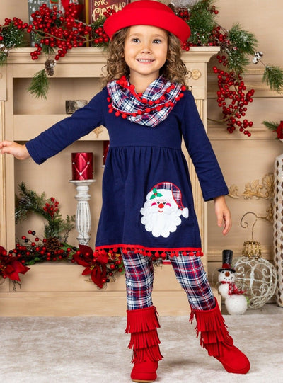 Girls Long Sleeve Santa Tunic, Plaid Leggings & Scarf Set