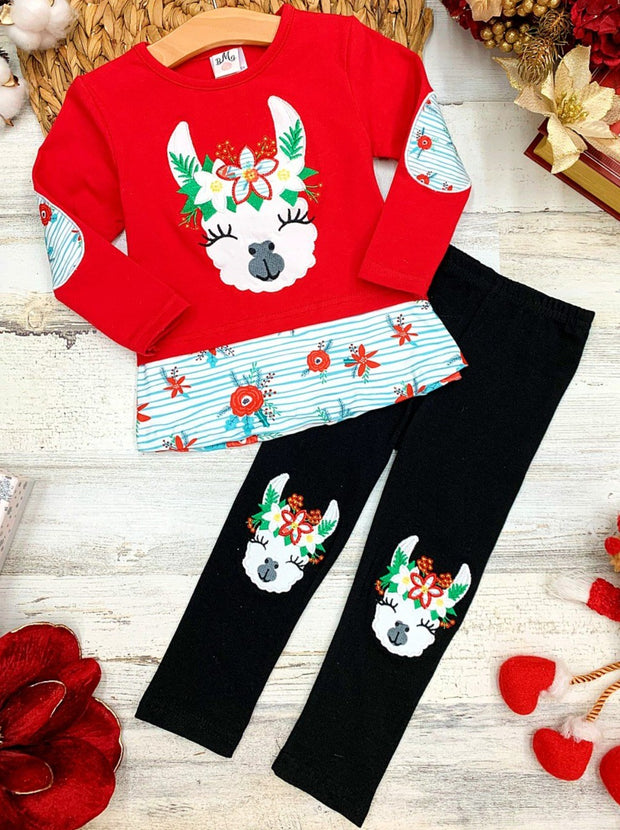 Girls Llama Poinsettias Top and Matching Patched Leggings Set 2T-10Y