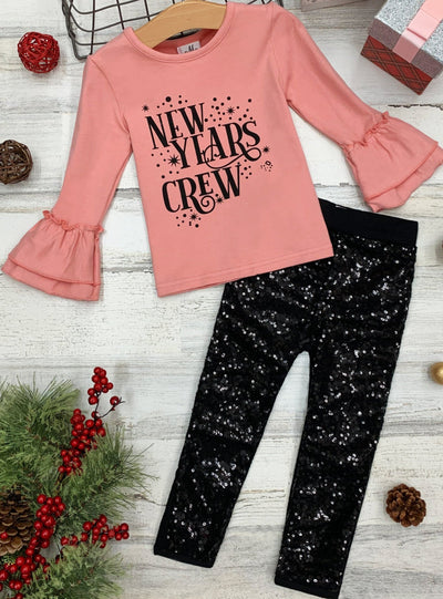 "Girls ""New Year's Crew"" Long Sleeve Top & Sequin Leggings Set 2T-10Y"
