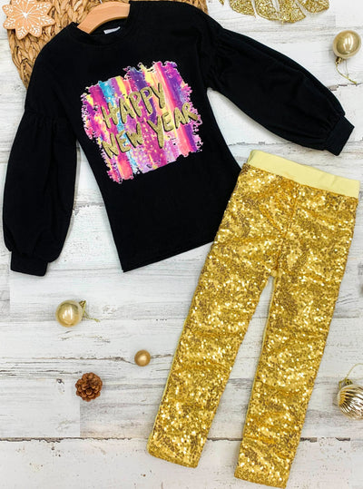 "Girls ""Happy New Year"" Long Sleeve black Top & gold Sequin Leggings Set 2T-10Y"