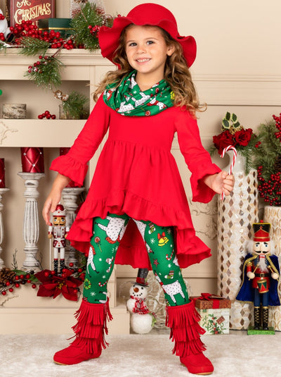 Girls Long Sleeve Ruffled Tunic, Llama Print Leggings & Scarf Set