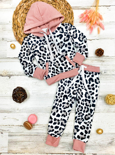 Mommy and Me Leopard and pink Print Jogger Set
