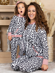 Mommy and Me Leopard and pink Print Jogger Set 2T-10Y and S-XXL