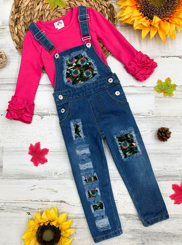 Girls hot pink Camo and Denim Overall with Sunflower patches Set