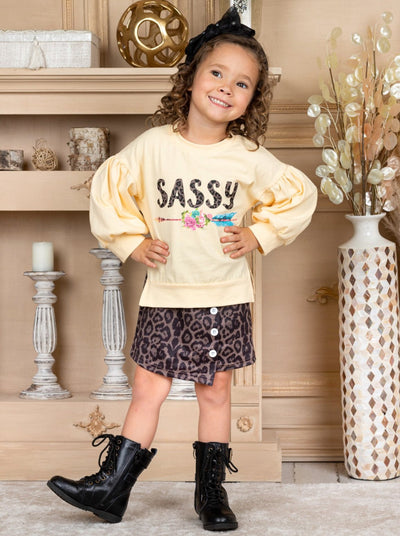 "Girls ""Sassy"" Top and Leopard Buttoned Skirt Set 2T-10Y"