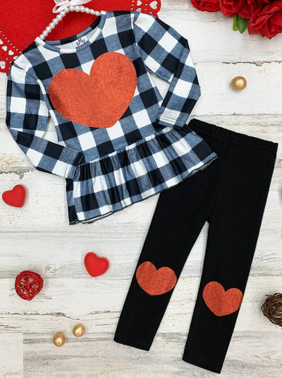 Girl Plaid Peplum Heart Applique Top and Heart Knee Patch Leggings Set 2T-10Y