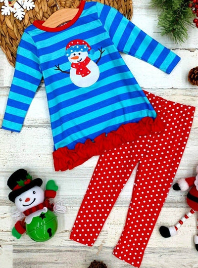 "Girls Striped Long Sleeve Ruffled """"Snowman"" Applique Tunic & Polka Dot Leggings Set 2T-10Y"