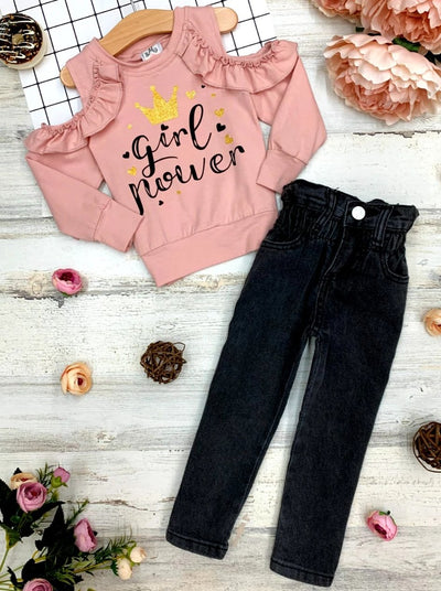 "Girls Ruffled ""Girl Power"" Print Top and Jeans Set 2T-10Y"