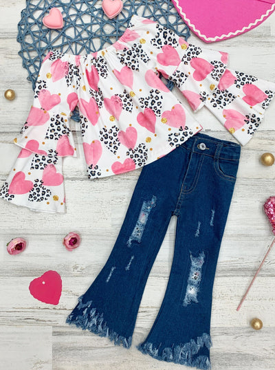 Girls Long Sleeved Ruffled Heart Print Top and Distressed Jeans Set 2T-10y