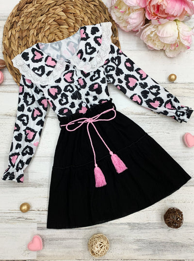 Girls Long Sleeved Collared Heart Top and Skirt Set 2t-10Y