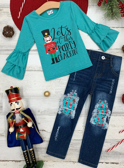 "Girls Ruffled Long Sleeve ""Nutcracker"" Top and Patched Jeans Set 2T-10Y"