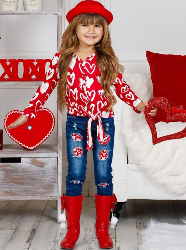 Girls Long Sleeve Heart Top with Knot and Patched Jeans Set
