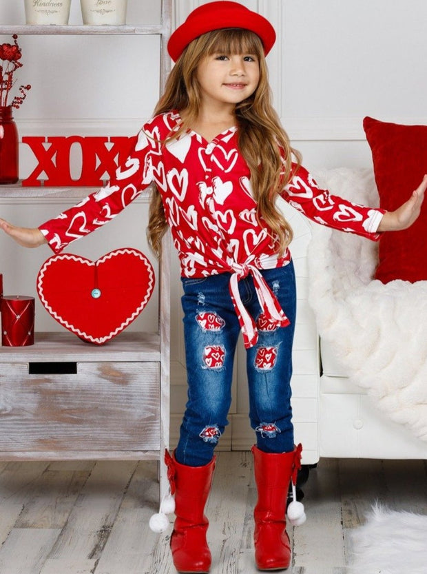 Girls Long Sleeve Heart Top with Knot and Patched Jeans Set 2T-10Y