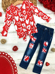 Girls Long Sleeve Heart Top with Knot and Patched Jeans Set 2T-10Y Valentine