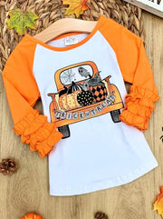 Girls Ruffled Long Double Sleeve Pumpkin Truck Top