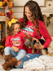 "Mommy and Me ""Grateful, Thankful & Blessed"" Knot Top"
