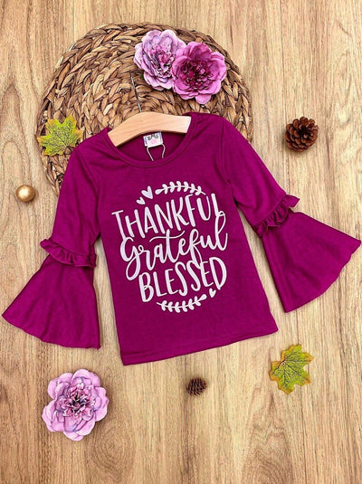 "Girls ""Thankful Grateful Blessed"" Boho Sleeve Top"