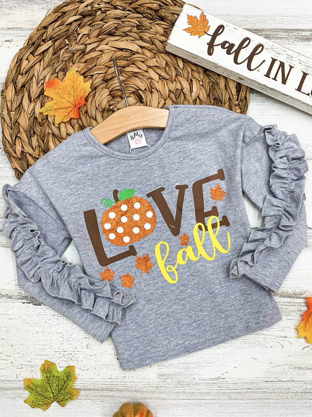 "Girls ""Love Fall"" Pumpkin Ruffle Sleeve Top"