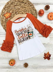 "Girls ""Pumpkin Spice Latte Season"" Raglan Ruffled Sleeve Top"
