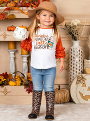 "Girls ""Pumpkin Spice Latte Season"" Raglan Ruffled Sleeve Top white with orange sleeves"