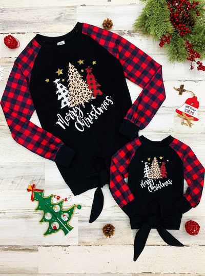 "Mommy and Me ""Merry Christmas"" Plaid Knot Top trees black"