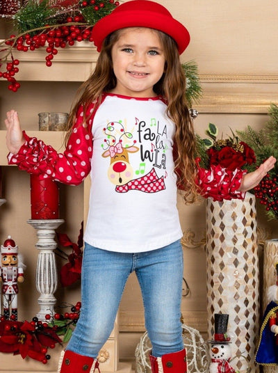 "Girls ""Fa La La La La"" Rudolph Raglan Ruffled Sleeve Top 2T-10Y"