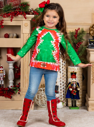 Girls Long Sleeve Tie Dye Christmas Tree Print Top 12Mon-10Y