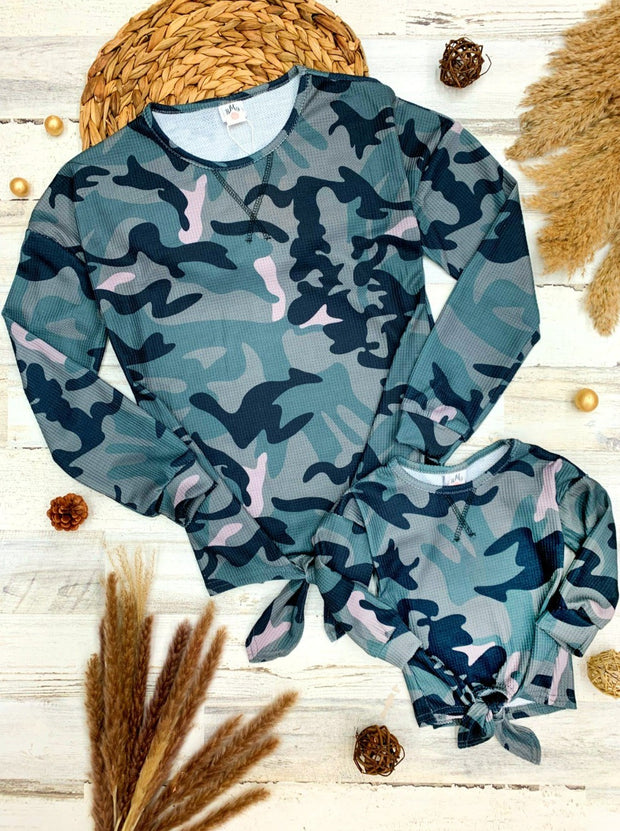 Mommy and Me Long Sleeves Camo Knot Top 2T-10Y girls XS-Xl Mom