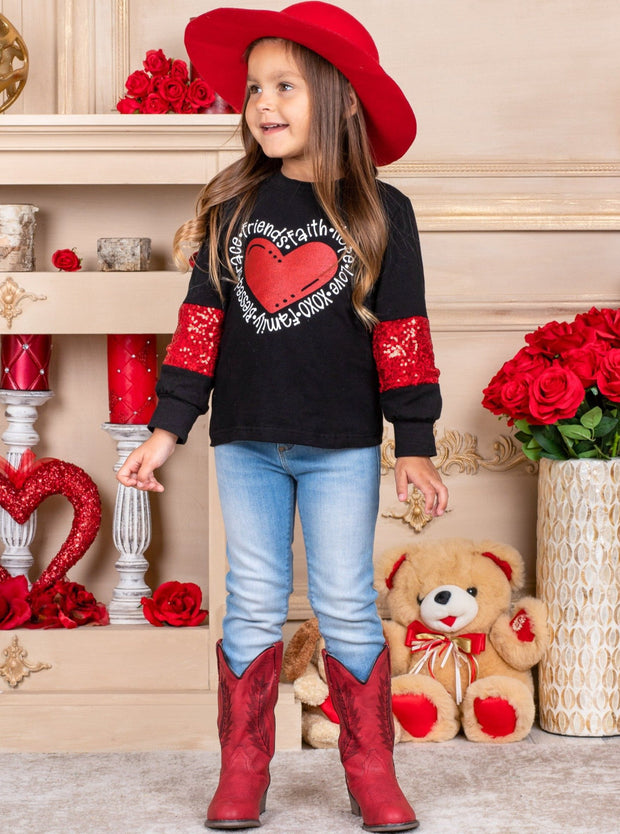 Girls Sparkly Long Sleeved Heart Print Sweater black and red Valentine sweater 2T-10Y