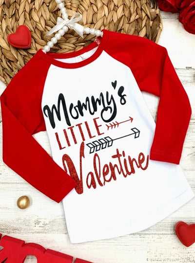 "Girls ""Mommy's Little Valentine"" Print Top 2T-8Y"