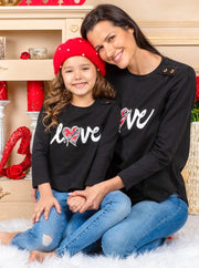 "Mommy and Me Long Sleeves ""Love"" Top 2T-10Y Mom S -XXL"