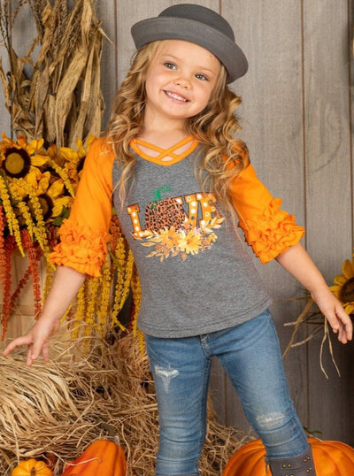 "Girls Leopard Pumpkin ""Love"" Front Cross Ruffled Top"