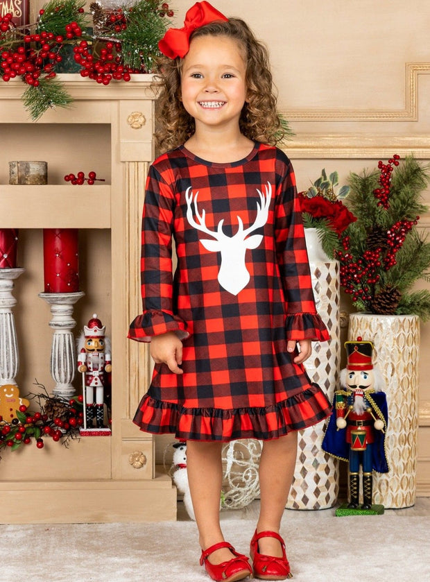 Girls Fall Plaid Reindeer Graphic Ruffled Dress