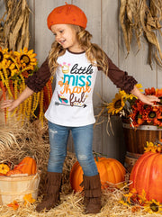 "Girls ""Little Miss Thankful"" Graphic Raglan Top with 3/4 Ruffled Sleeves"