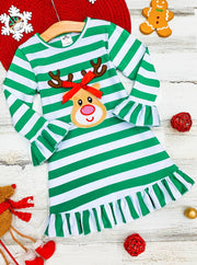 Girls green striped long sleeved dress rudolph applique