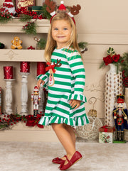 Girls Rudolph Long Sleeve Striped Ruffled Dress -Green Girls Christmas Dress