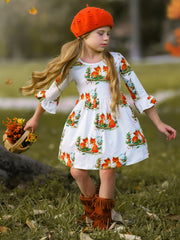 Girls White Fox Print A-Line Bell Long Sleeve Dress