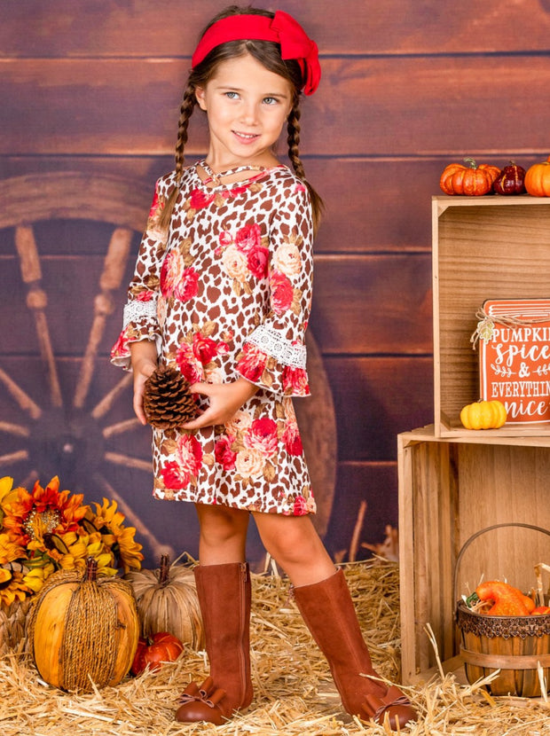 Girls Animal Print Floral Crochet Ruffled Long Sleeve Dress