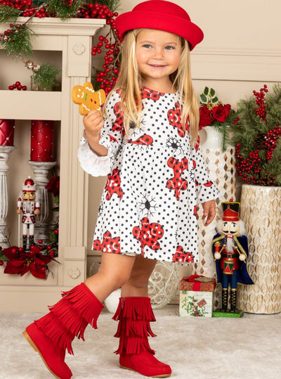 Girls Christmas Themed Ruffled Long Sleeve Polka Dot Gingerbread Print Dress