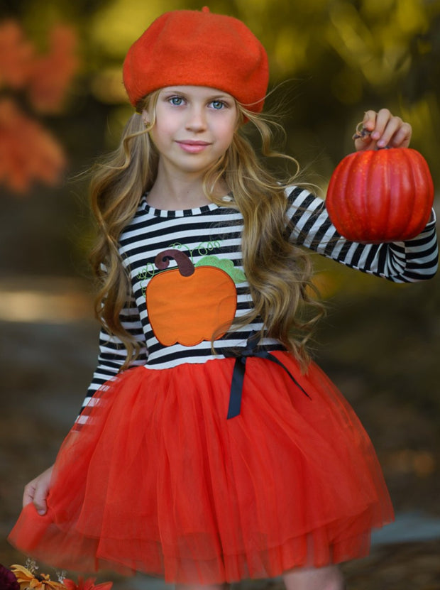 Girls Striped Pumpkin Print Tutu Dress