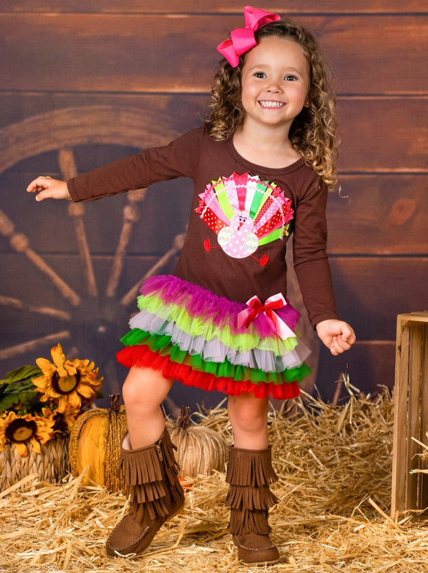 Girls Thanksgiving Themed Long Sleeve Turkey Ruffled Tutu Dress
