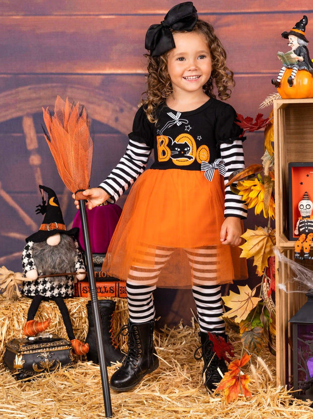 "Girls Halloween Themed Long Sleeve ""Boo"" Tutu Tunic with Striped Sleeves & Striped Leggings Set"