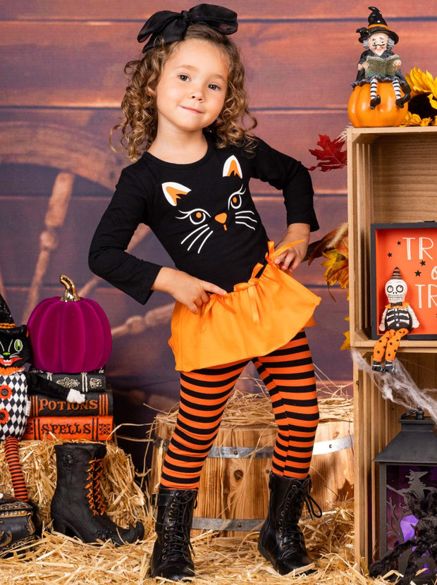 Girls Halloween Themed Long Sleeve Kitty Tunic with Ruffled Hem & Bows & Striped Leggings Set