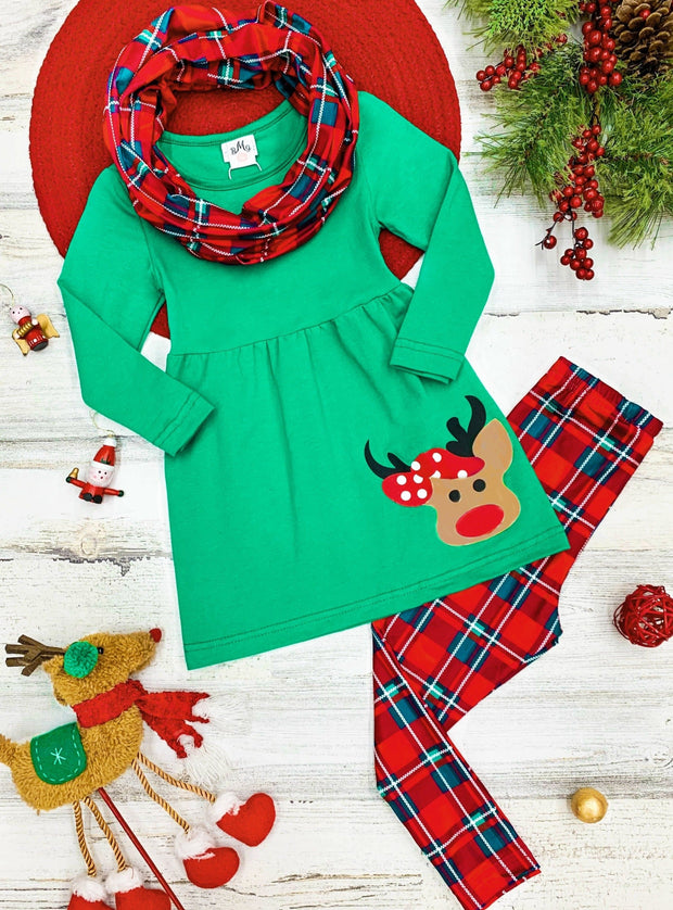 Girls Green ruffled tunic Rudolph applique red plaid legging scarf set  2T-10Y