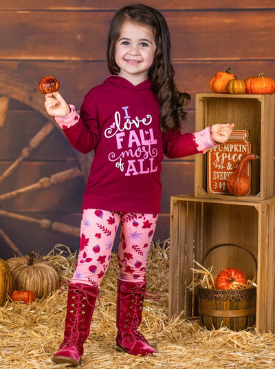 "Girls Burgundy & Pink ""I Love Fall Most of All"" Long Sleeve Hoodie & Leaf Print Leggings Set"