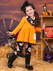 Girls Halloween Themed Ghost & Spider Print Long Sleeve Pom Pom Tunic, Leggings & Scarf Set
